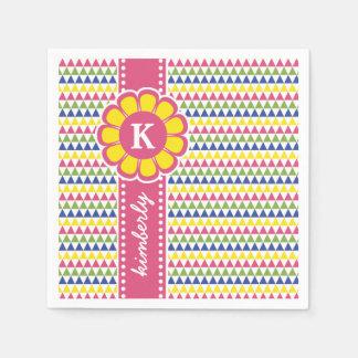Servilleta De Papel Monograma geométrico colorido de la cinta de la