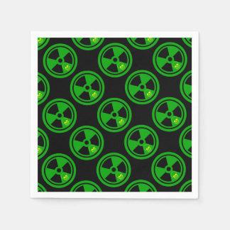 Servilleta De Papel Muestra radiactiva de la precaución con el cráneo