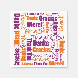 Servilleta De Papel Multilingües púrpuras y anaranjados le agradecen