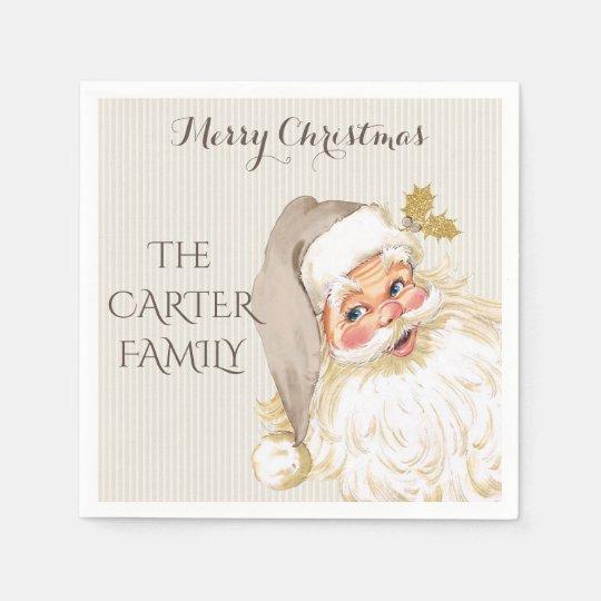 Servilleta De Papel Navidad de Papá Noel del vintage de color topo y