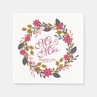 Servilleta De Papel Navidad floral personalizado que casa la