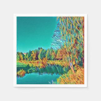 Servilleta de papel original de arte del paisaje