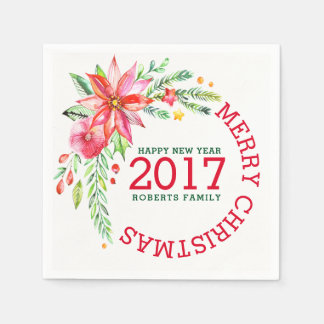 Servilleta De Papel Plantilla del ramo floral de las Felices Navidad
