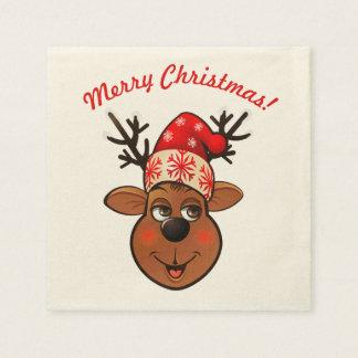 Servilleta De Papel Reno lindo con el gorra del navidad