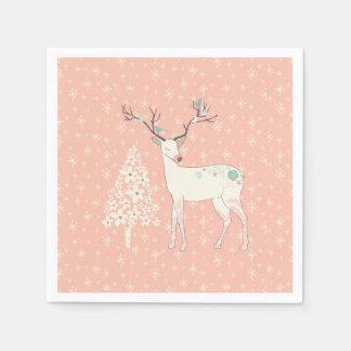 Servilleta De Papel Rosa hermoso del reno y de los copos de nieve