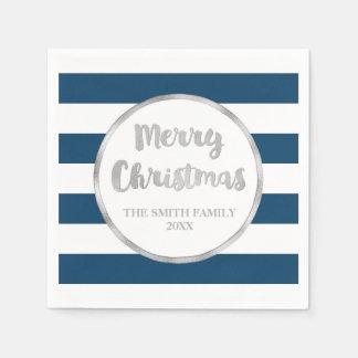 Servilleta De Papel Servilleta azul de las Felices Navidad de las