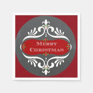 Servilleta De Papel Servilletas del rojo de la pizarra del navidad