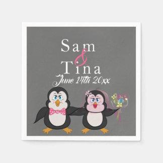 Servilleta De Papel Servilletas lindas del boda del pingüino y de la