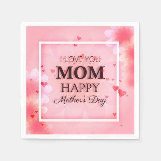 Servilleta De Papel Te amo servilleta del día de madre de la mamá el |