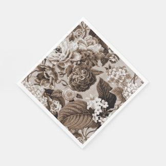 Servilleta De Papel Tela floral No.1 de Toile del vintage de Brown de