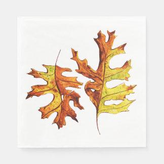 Servilleta De Papel Tinta y hojas de otoño de baile pintadas acuarela