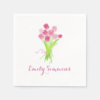 Servilleta De Papel Tulipanes rosados y nombre - servilleta del cóctel