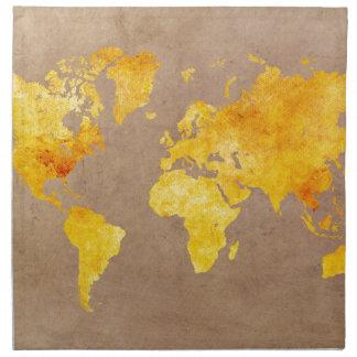 Servilleta De Tela amarillo del mapa del mundo