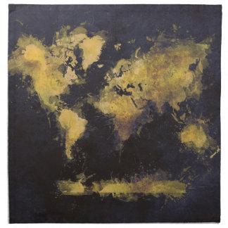 Servilleta De Tela amarillo negro del mapa del mundo