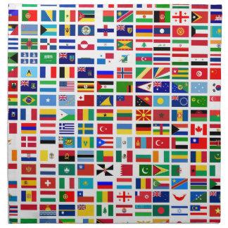 Servilleta De Tela banderas del mundo contra blanco