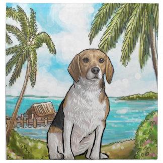 Servilleta De Tela Beagle en la playa tropical de las vacaciones