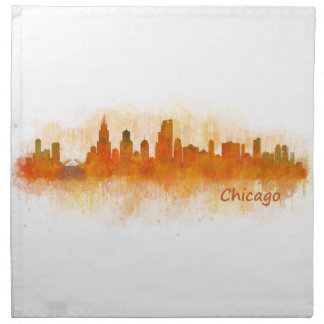 Servilleta De Tela chicago Illinois City Skyline v03