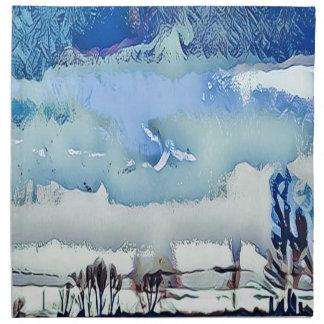 Servilleta De Tela Cielo abstracto azul del horizonte del invierno