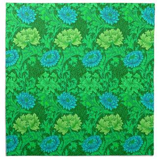 Servilleta De Tela Crisantemos, verde lima y aguamarina de William