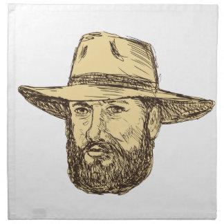 Servilleta De Tela Dibujo barbudo de la cabeza del vaquero