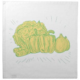 Servilleta De Tela Dibujo de la cebolla del pimiento de Brocolli