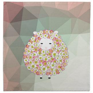 Servilleta De Tela Diseño florido de las ovejas del tono en colores