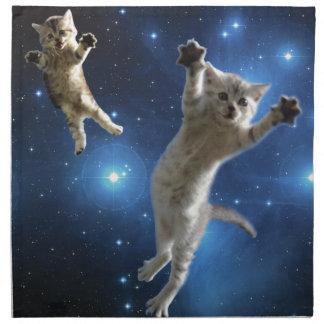 Servilleta De Tela Dos gatos del espacio que flotan alrededor de