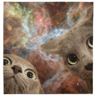 Servilleta De Tela Dos gatos grises en espacio antes de una nebulosa