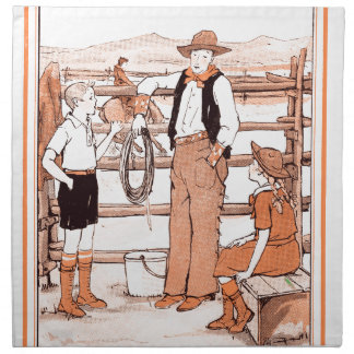 Servilleta De Tela El libro de niño del vintage - hablando con el