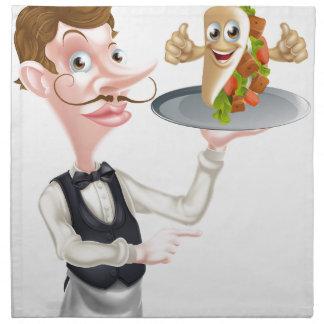 Servilleta De Tela El señalar y Kebab del camarero del dibujo animado