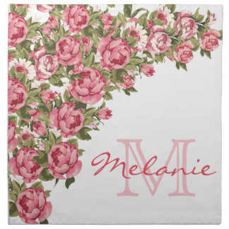 Servilleta De Tela El vintage se ruboriza los Peonies rosados nombre,