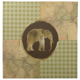 Servilleta De Tela Elefante africano en mapa y Argyle