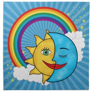 Servilleta De Tela Estrellas del arco iris de la luna de Sun
