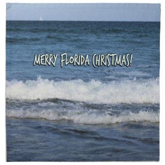 Servilleta De Tela Felices Navidad de la Florida sobre el océano