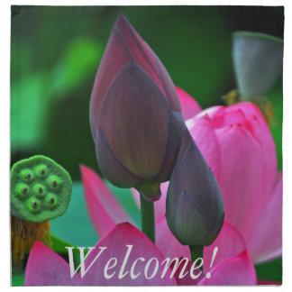Servilleta De Tela Flores rosados de Lotus