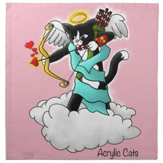 Servilleta De Tela Gato del Cupid del smoking del el día de San