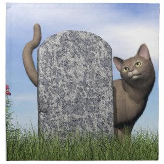 Servilleta De Tela Gato triste cerca de la piedra sepulcral