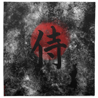 Servilleta De Tela Grunge 2 del samurai del kanji