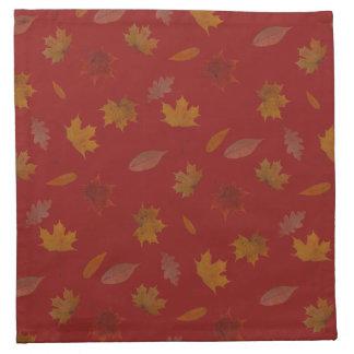 Servilleta De Tela Hojas de otoño de oro en color de encargo rojo