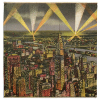 Servilleta De Tela Horizonte de New York City del vintage