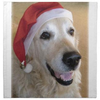 Servilleta De Tela La golden retriever navidad - Happy Christmas Dog