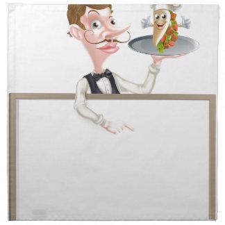 Servilleta De Tela Letrero del camarero de Kebab del dibujo animado