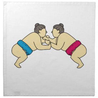Servilleta De Tela Luchadores del sumo de Rikishi que luchan la mono