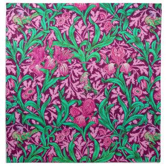 Servilleta De Tela Modelo del iris de William Morris, rosa fucsia y