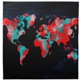 Servilleta De Tela negro rojo del mapa del mundo