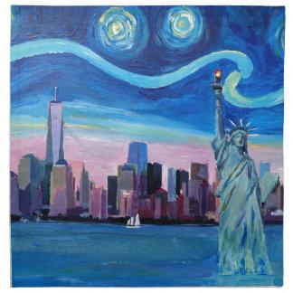 Servilleta De Tela Noche estrellada sobre Manhattan con la estatua de