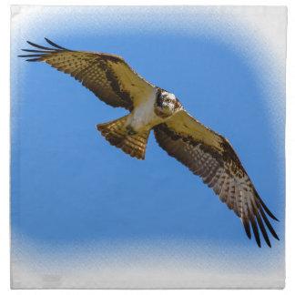 Servilleta De Tela Osprey del vuelo con una blanco en vista