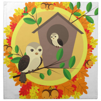 Servilleta De Tela Pájaros y Birdhouse en el otoño