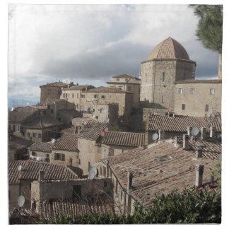 Servilleta De Tela Panorama del pueblo de Volterra, Toscana, Italia