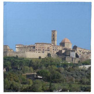 Servilleta De Tela Panorama del pueblo de Volterra. Toscana, Italia